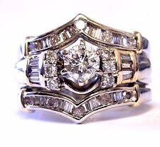 14k yellow white gold 1.17ct diamond engagement ring wedding jacket 8.9g vintage