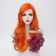 Multicolor 65cm Orange/Blue /Purple Curly Long Women Lolita Cosplay Wig+Cap