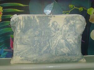 NEW CLUTCH PURSE CREAM BLUE TOILE TRIANON CHRISTOPHER MOORE  30cm x 19cm