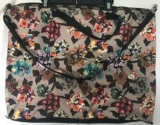 LeSportsac Tote Travel Bag Beige Taupe Black Floral Print Colorful Overnight 205