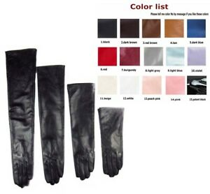 Custom made 30cm to 80cm long plain style evening real leather gloves 15 colors