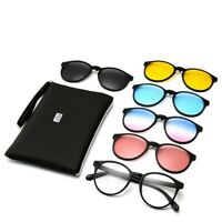 5 pack Magnetic Sunglasses Clip on Lens With 1 Eyeglass Frames Shade Outdoor K