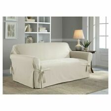 SERTA Relaxed Fit Furniture Cotton Loveseat Slipcover Natural NEW