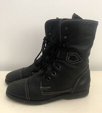 Russell And Bromley Black Leather Lace Up Shearling Ankle Biker Boots 6
