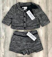 JANIE AND JACK SHORT & JACKET OUTFIT CHRISTMAS Black, Silver & Cream 12-18M & 2T