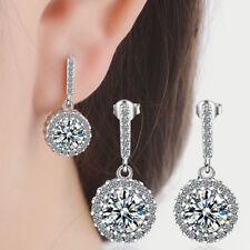 925 Sterling Silver Round Zircon High-Grade Stud Earrings For Women Jewellery