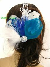 Peacock Feather Hair Comb Accessories Fascinator Handmade in UK 'Helena'