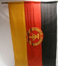 VINTAGE ORIG EAST GERMAN NATIONAL PEOPLES ARMY NVA PARADE VEHICLE FLAG W/ STAFF