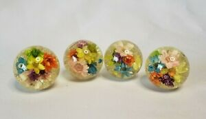 """Vintage Drawer Pulls x4 Resin Globe with Dried Flowers Inside 1"""" Round Ball"""