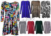 femmes écossais Multi Imprimé Franki évasé SWING Skater robe grande taille 8 -
