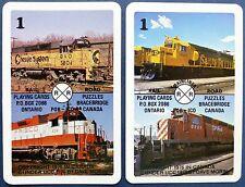 PAIR SWAP CARDS c1976. DIESEL LOCOMOTIVES. FRISCO, CHESSIE, CP RAIL, SANTA FE