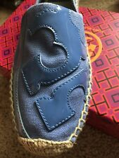 New TORY BURCH LONNIE Flat Espadrille Shoes Slip On Blue Size 10.5 $150 Flats