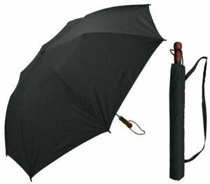 """RainStoppers Auto Open Folding Golf Umbrella with Wood Handle 60"""" - W009B - New"""