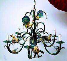 Vintage Italian Tole Style Rooster Bird Motif - 6 Arm Chandelier