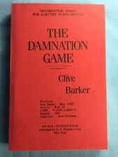 THE DAMNATION GAME - UNCORRECTED PROOF SIGNED BY CLIVE BARKER