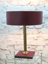 Stitched Leather Cuir Sellier Table Lamp lampe Regency Style 1970s Laiton Copper