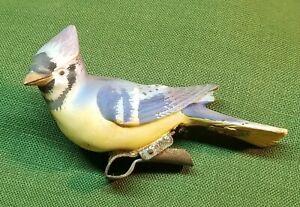 Vintage UCAGCO Ceramics Japan Clip-On Christmas Ornament Blue Jay Bird Figurine