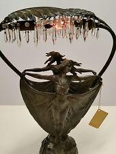 Art Nouveau Bronze RARE Carlier/ Fabrication Francaise Paris France Lamp 1890s