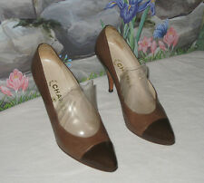Authentic CHANEL Italy Brown Cap Toe Classic Vintage Pumps Heels 8 / 8.5 -- EUC