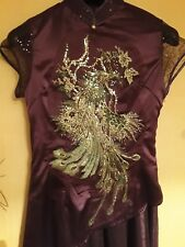 Purple Silk Party Dress, Maxi, Size XL, Chinese Label Peacock Embroidered