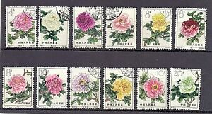 China 1964 Flowers MI 795/801 and 803/7 ( 805 small spot) used and gum  !!!