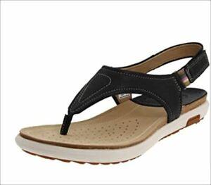 ECCO Women's Essence Ankle-Strap Black Leather Thong Sandals Size Eu 39 US 8-8.5