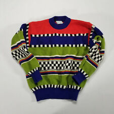 VTG 90s United Colors of Benetton Sweater Italy Bright MEDIUM Stripe checkered