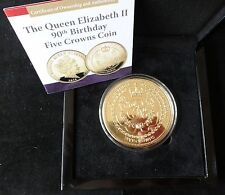 2016 GOLD PLATED PROOF TDC 5 CROWNS COIN BOX + COA QUEEN'S 90th BIRTHDAY