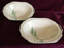 "2 Leigh Ware Green Wheat 9"" Serving Bowls Art Deco 1920s Gale Turnbull Antique"