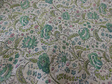 """Ivory & Green """"Vintage Flowers"""" Summer Floral Printed 100% Cotton Lawn Fabric"""