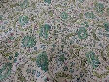 """Marfil y Verde """"Flores Vintage"""" Verano Floral Estampado 100% ALGODÓN CÉSPED Tela"""