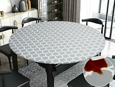 Vinyl Tablecloth Round Fitted Elastic Flannel Gray Moroccan Trellis 36-72 Inch
