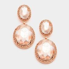 """2"""" Long Double Oval Peach Glass Chandelier Earrings"""