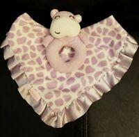 Carter's Purple Lavender Ruffle Hippo Plush Animal Security Blanket Lovey Baby
