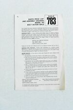 Vintage Marlin 783 Bolt Action Rifle Parts Price List And Assembly Drawing Gun