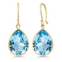 Blue Topaz Pear Shape 14K Yellow Gold Earrings 19.00 Ctw Gemstone Birthstone