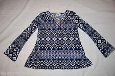 Womens L/S Knit Shirt BLACK BLUE AZTEC GEOMETRIC Hippy FLARED HEM Boho S 4-6