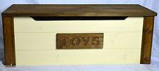 toy box solid pine CREAM & WALNUT