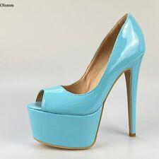 New Women Platform Pumps Stiletto Heels Peep Toe 8 Colors Party Shoes US Size 20