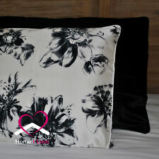 100% Silk Mixed Set of 2 Pillowcases Black+White&Black Print Hypoallergenic 19mm