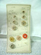 Vintage BUTTONS--Salesmen's Sample Card-10 Asst Colors-Glass-West Germany -1954