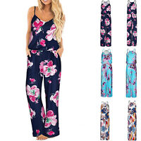 Women Summer Sleeveless Floral Playsuit Wide Leg Jumpsuit Romper Casual Trousers