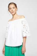 NWT WITCHERY LACE BLOUSE | SZ 12 | 100% COTTON WHITE OFF THE SHOULDER TOP