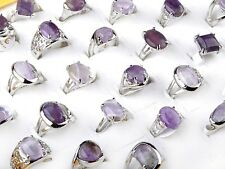 5 Pcs Wholesale Lots Unisex Amethyst Gemstone Stone Silver Plated Rings Hot