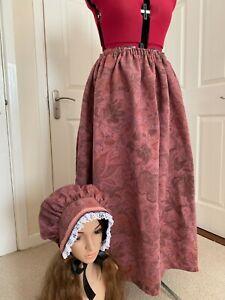 VICTORIAN REGENCY BONNET SKIRT Costume Pink Dickens Austen Reenactor Fancy Dress