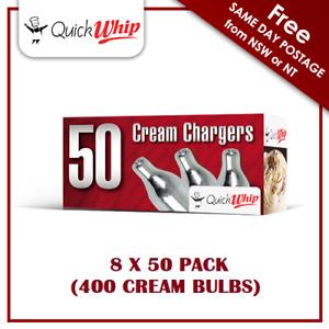400 Cream Chargers QuickWhip - 50 PACK X 8 (400 BULBS) - Pure Nitrous Oxide N2O