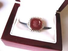 "ANTIQUE 14K WHITE GOLD RING with ""ANCIENT INTAGLIO"" of CARNELIAN, ART DECO"