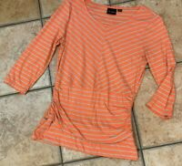TRIBAL CORAL ORANGE TAN STRIPED TOP TEE ROUND NECK 3/4 LONG SLEEVE M RUCHED EUC