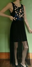 Black MISS SELFRIDGE Embellished Sheer Maxi Dress New With Tag Size 16