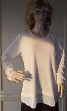 Long-Shirt Pulli Langarm  Lagenlook  Ecru-Gold  Gr. 42  NEU